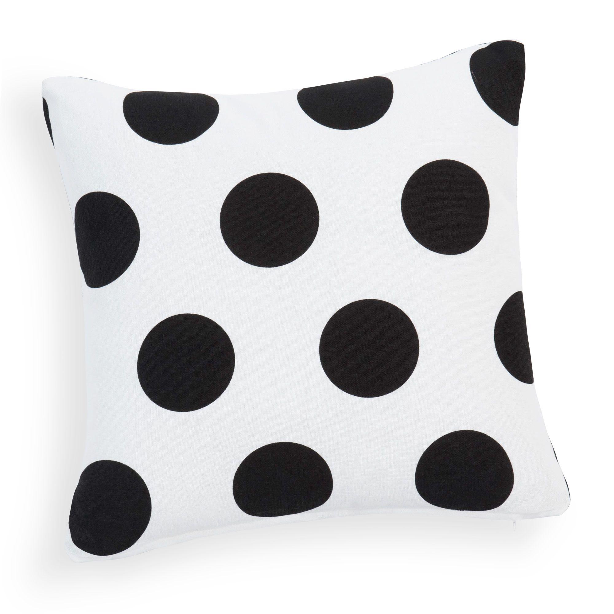 Kissenbezug DOTS gepunktet aus Baumwolle, 40 x 40 cm, weiß/schwarz | Maisons du Monde für 5,99 EUR