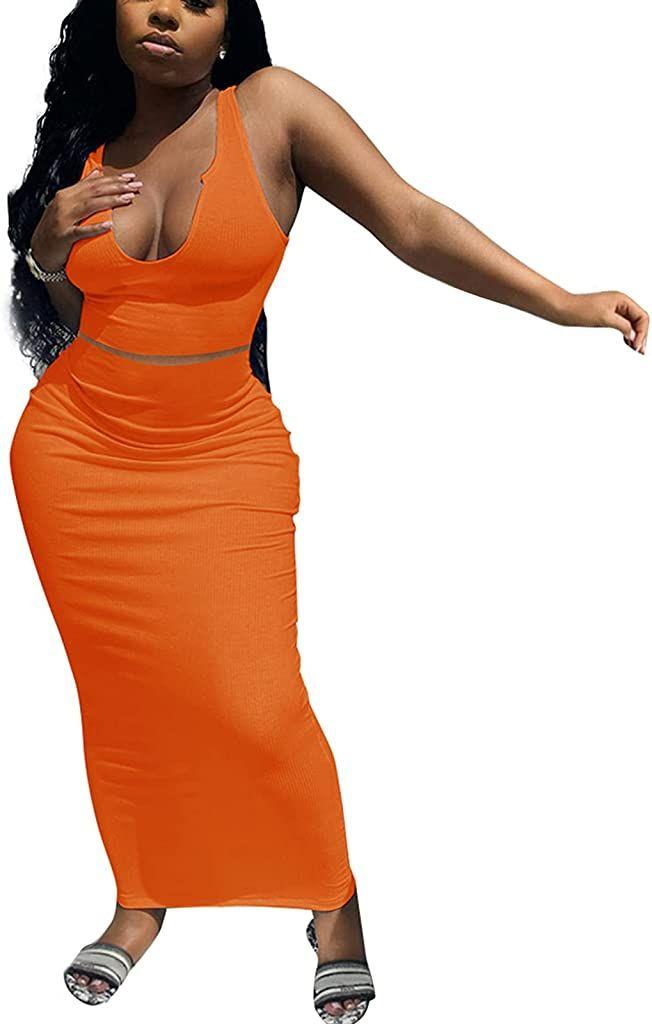 Ekaliy Women's Sexy 2 Piece Summer Scoop Neck Ottoman Rib Outfits Bodycon Crop Tops Long Skirt