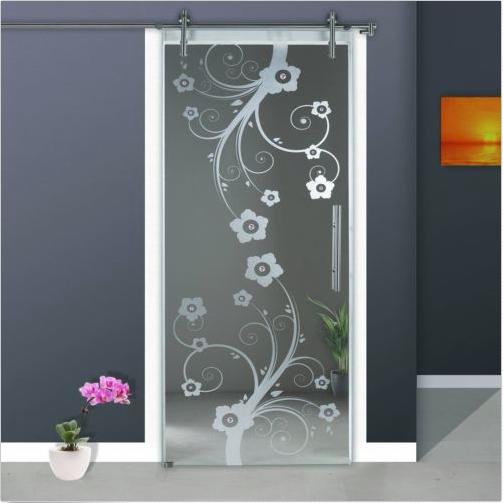 Modern Sliding Glass Barn Door Frosted Flower Design Glass Door Us Door Glass Design Glass Doors Interior Glass Barn Doors