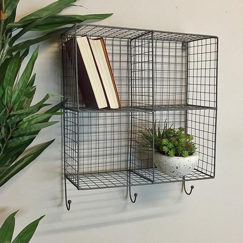 Wire Box Shelf Rack With Hooks