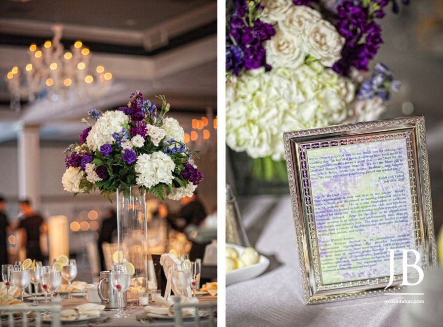 Heidi & Vadim's beautiful purple and white centerpieces at their wedding reception at Vie in Philadelphia, PA. Photos by Jordan Brian Photography www.jordanbrian.com