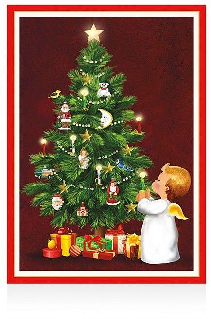 caspari angel with candle christmas cards box of 16 - Caspari Christmas Cards