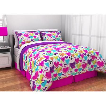 latitude bright hearts bed in a bag bedding set | bed sets