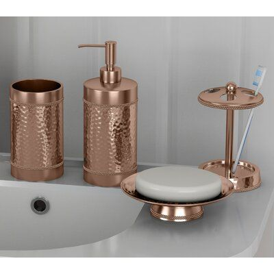 Rosdorf Park Nikolas Copper Hammered 4 Piece Bathroom Accessory Set Wayfair In 2020 Bathroom Accessories Sets Copper Bathroom Accessories Bathroom Accessories
