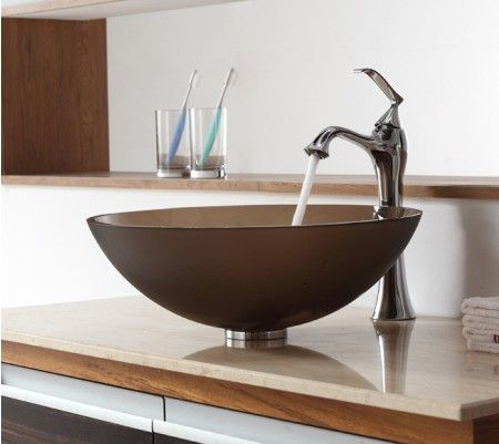 Frosted Brown Glass Vessel Sink and Ventus FaucetAutumn Inspired