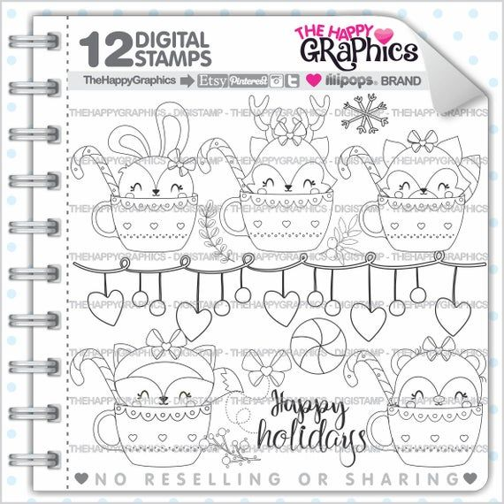 Christmas Stamp, COMMERCIAL USE, Digi Stamp, Digital Image