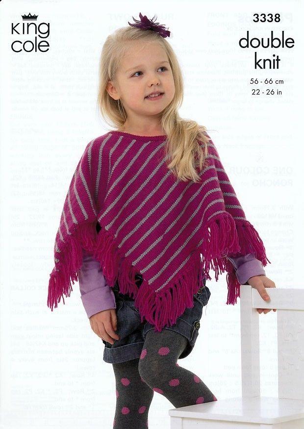 King Cole Children\'s Ponchos DK Knitting Pattern 3338