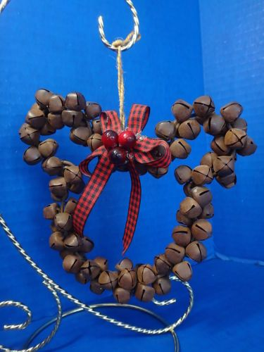 Hidden Mickey Mouse Country Christmas Jingle Bell Wreath Ornament Rustic Look
