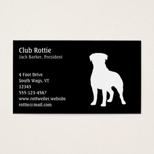 Rottweiler Dog Silhouette Black And White Dog Business Card