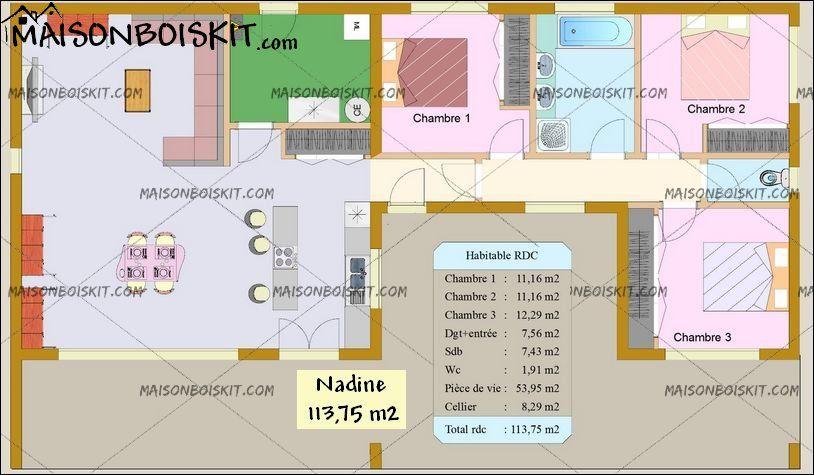Meilleur De Plan Maison Ossature Bois Plain Pied 3 Chambres And Vuew In 2020 Building A House How To Plan Floor Plans