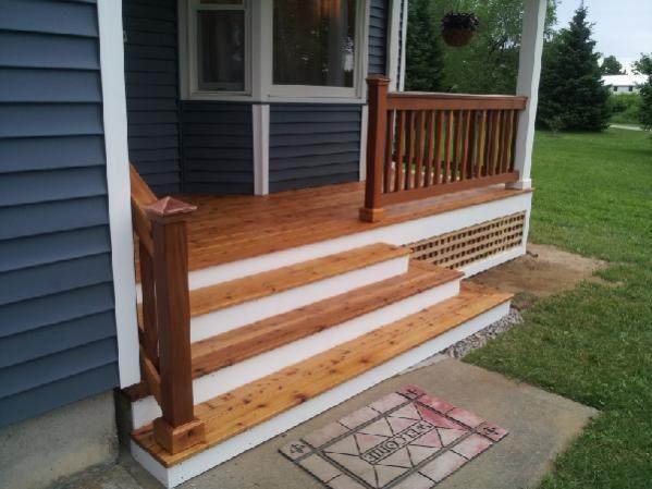 Wait For Dry Weather To Stain A New Cedar Deck Doityourself Com Community Forums Cedar Deck Front Porch Steps Cedar Deck Stain