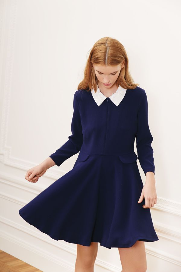 Extrêmement Robe bleu marine à col claudine blanc, Lookbook automne hiver 2014  OZ96