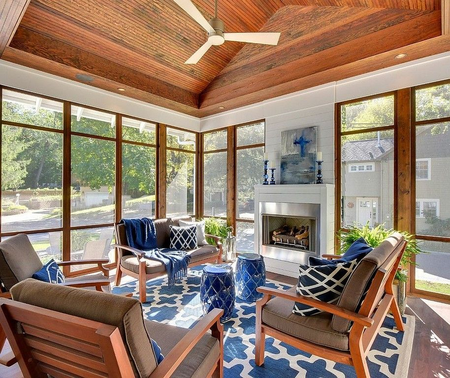 Interior Sunroom Addition Ideas: Sunroom Furniture Designs Fireplace Refacing Indoor Sun