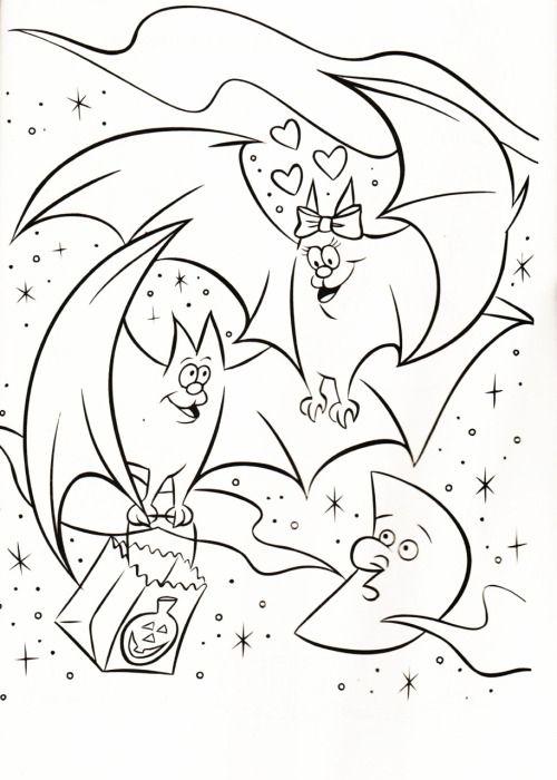 kleurplaat vleermuis met strik kleurplaten en herfst