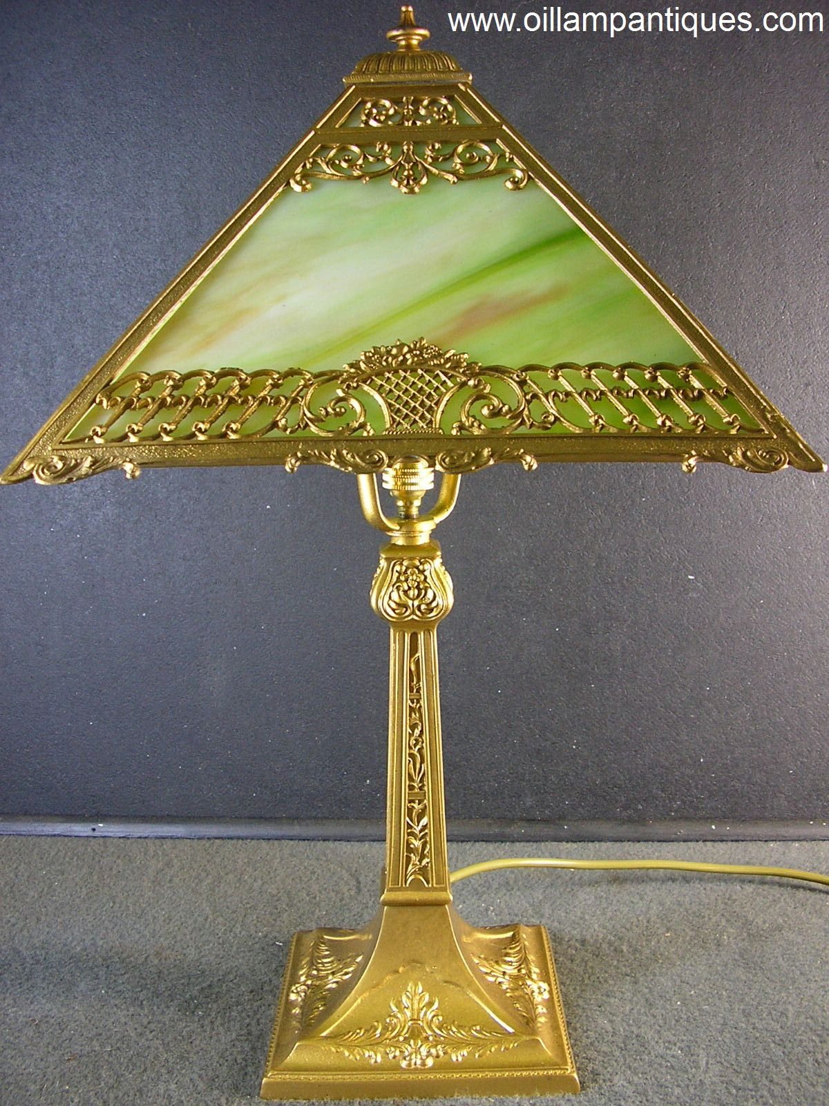 466608c24843 This antique electric slag glass lamp is one of the smaller styles. The  shade is