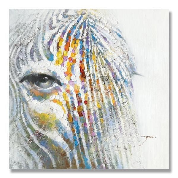 Beautiful Cool Color Abstract Zebra Horse Oil Painting Only 60 Med Bilder