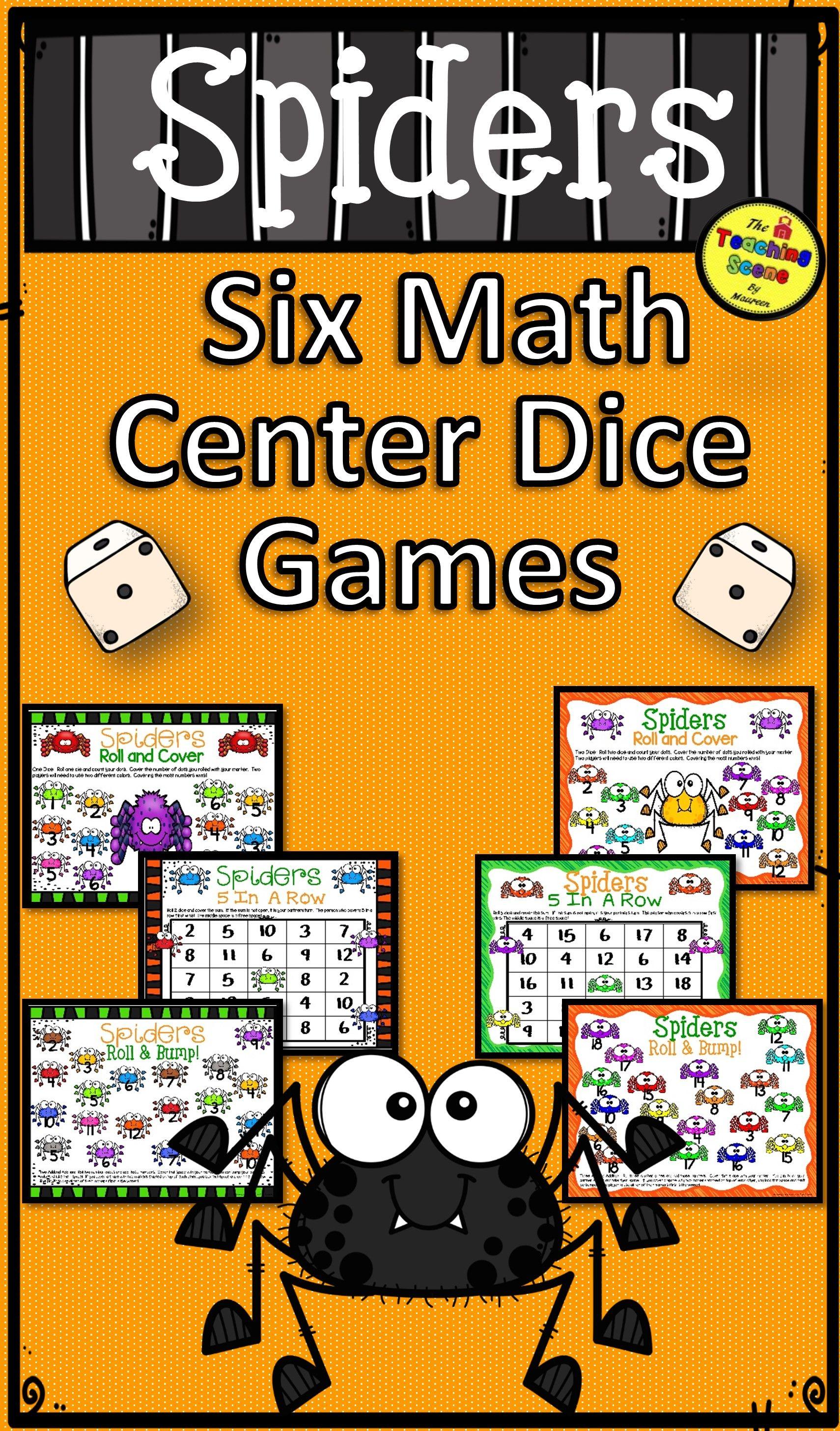 Spiders Math Center Dice Games Math centers, Math, Math