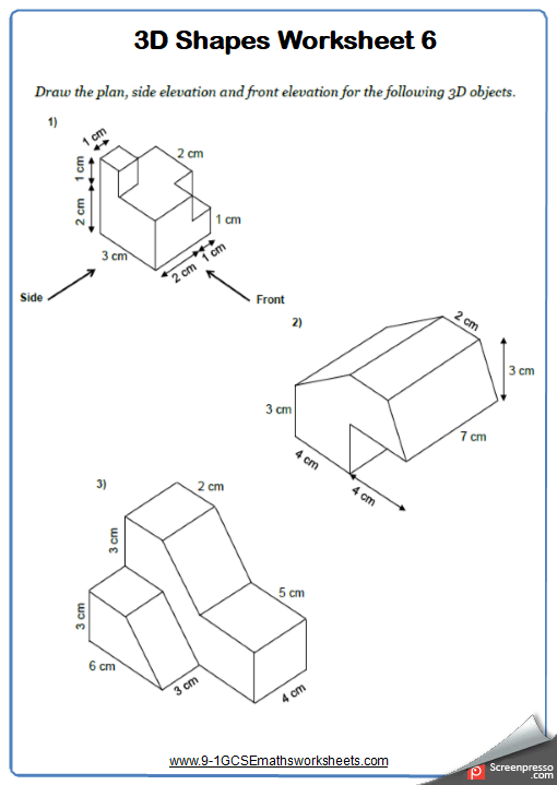 Plans And Elevations C With Square Paper Provided Maths Worksheet