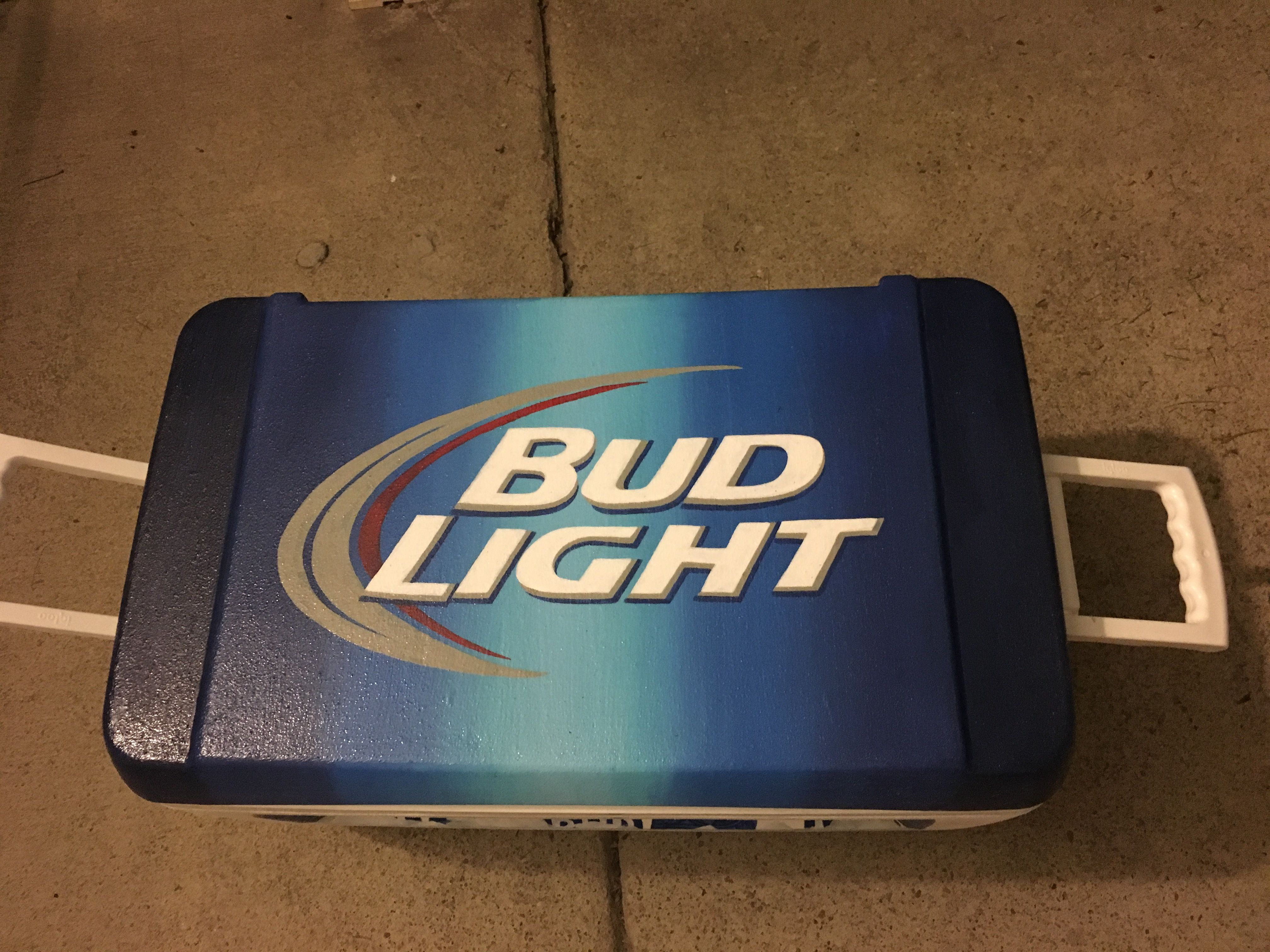 Bud light beer logo painted cooler top | Cooler Ideas | Fraternity