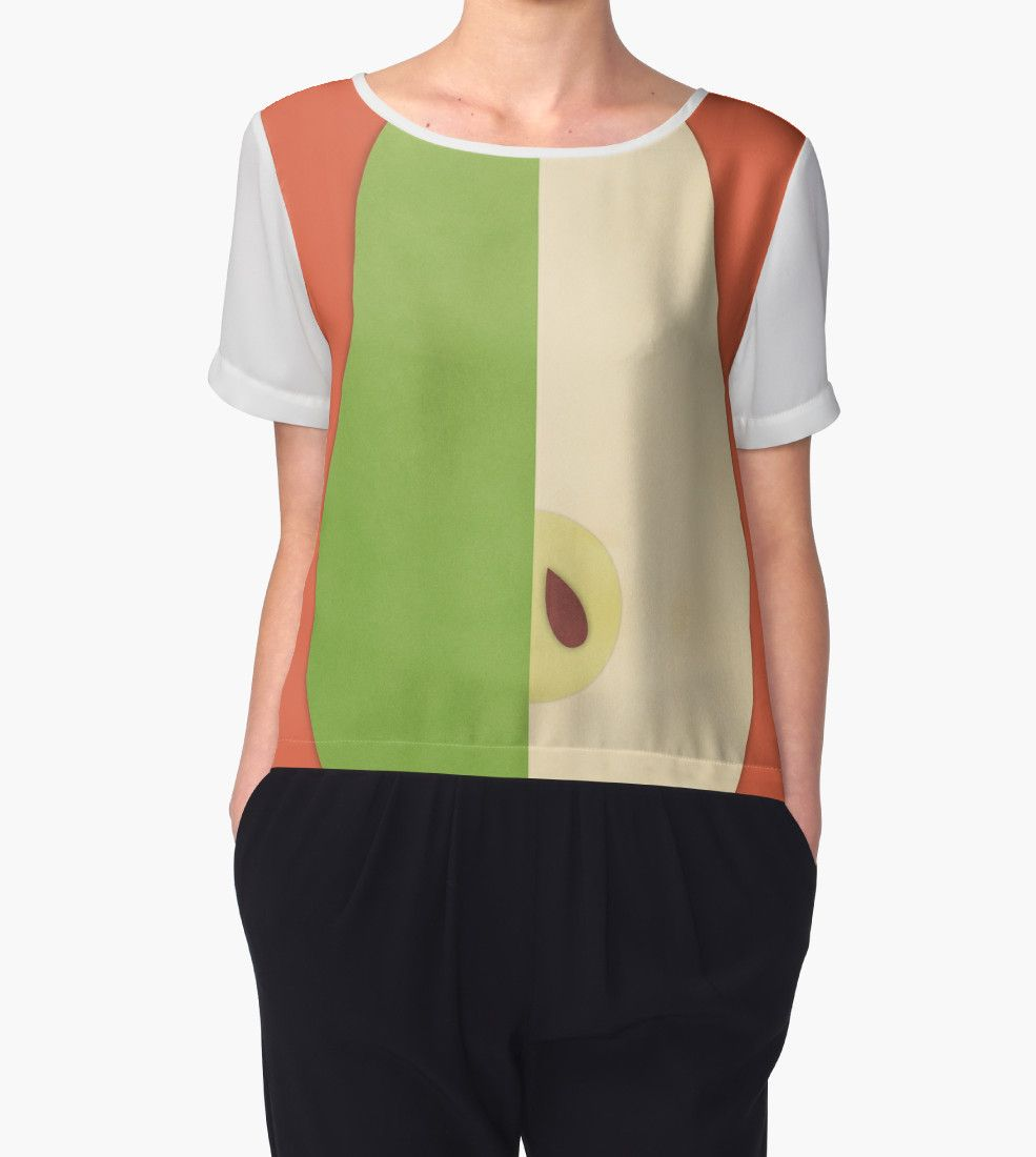 """Pear (orange) - Natural History Fruits"" Chiffon Tops by RedHillPrints 