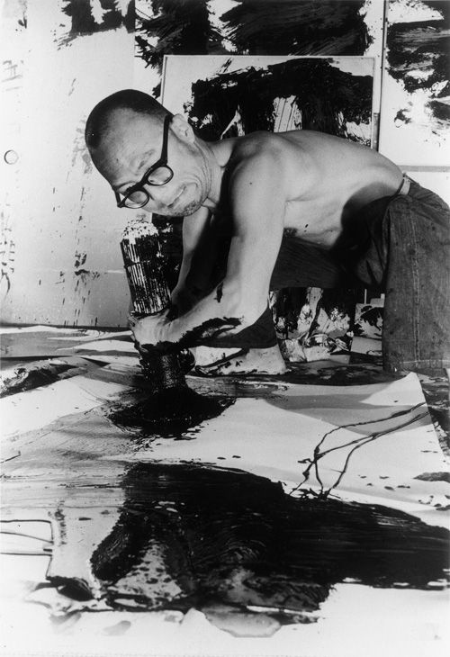 """Yuichi Inoue, who goes simply by Yu-Ichi, is a Japanese calligraphy artist who passed away in 1985 at the age 69. His experimental """"one character writings,"""" as well as his expressive, action-based style of painting, won him considerable acclaim both domestically and abroad, with some even referr"""