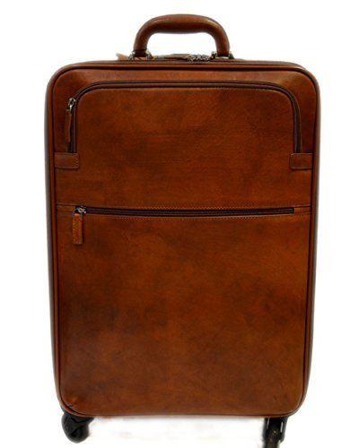 33c82fb10 Trolley rigido bolsa de viaje de cuero marron bolsa de cuero con ruedas de  hombre de