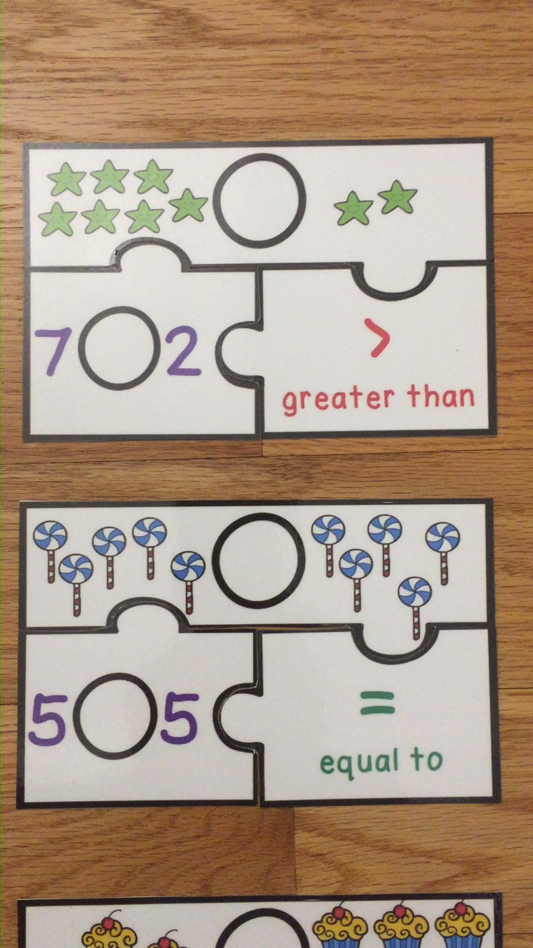 Greater Than Less Than Kindergarten Comparing Numbers to 10 Game Puzzles K.CC.6