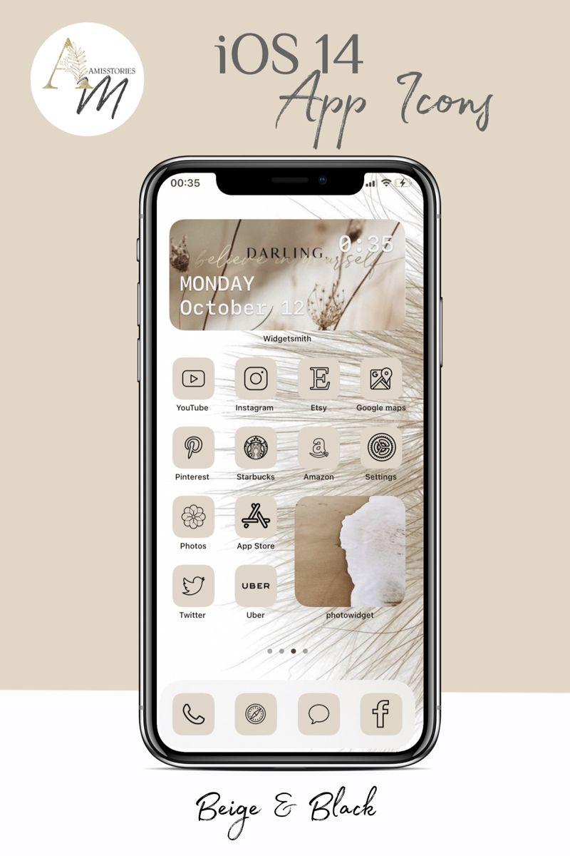 Custom Beige Ios Iphone Ios 14 App Icons Widgetsmith Ios Etsy App Icon Messaging App App