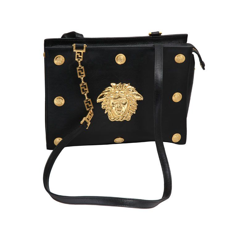 Versace Couture Black Leather Vintage Bag Zfzka