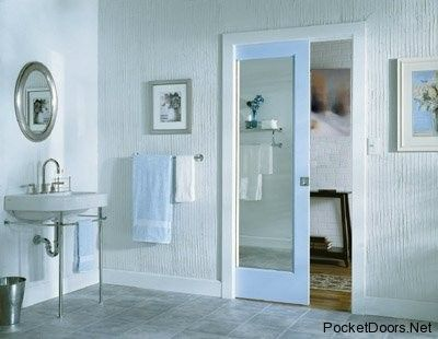 Pocket Door With Mirror On Inside Hmm Good Idea For 1 2 Bath At Entry Way Not Sure Glass