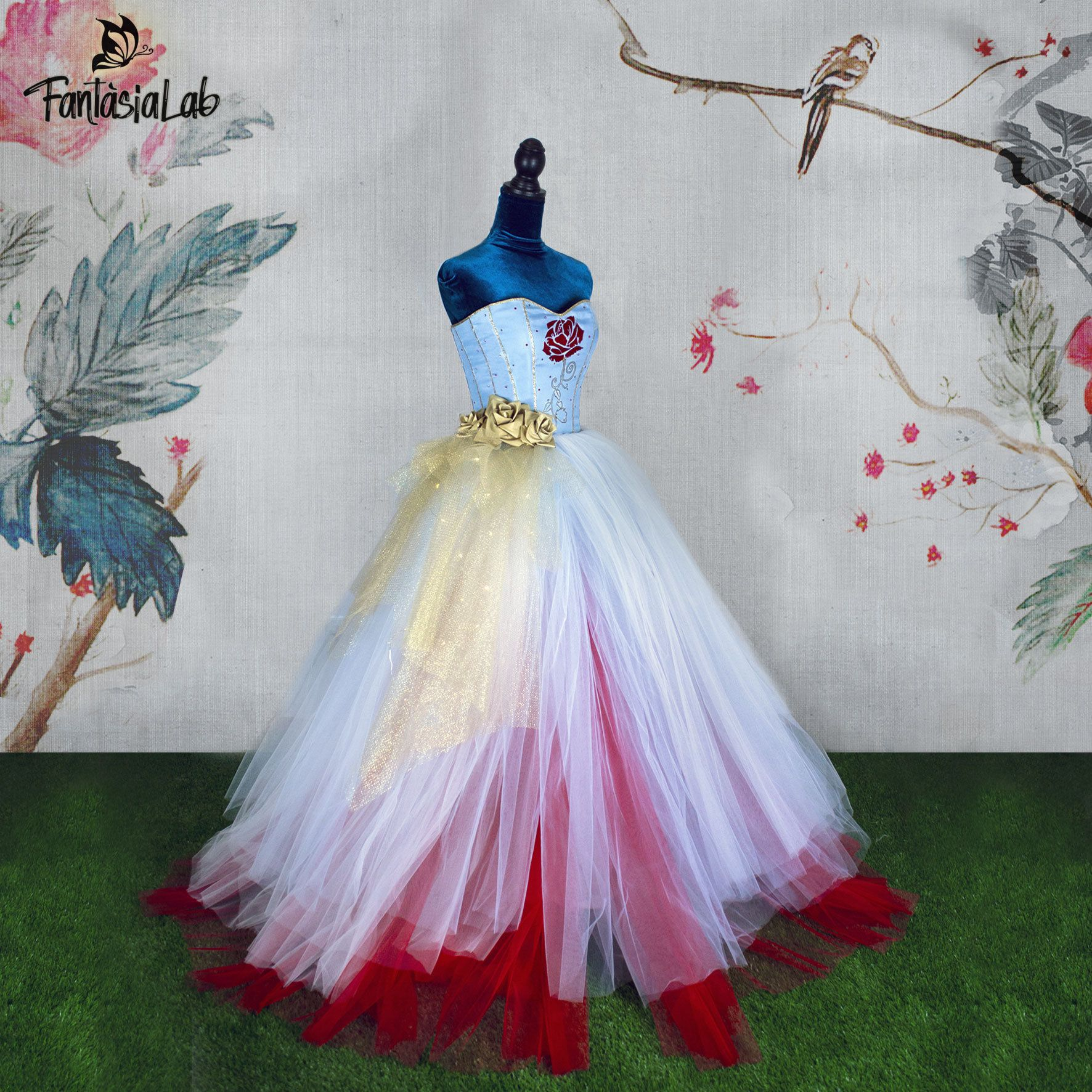 Belle wedding dress beauty and the beast themed wedding