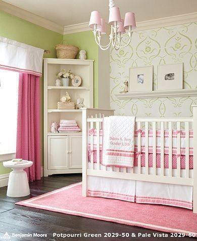 Pink And Green Nursery Baby Bedding