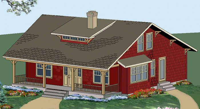 The craftsman house plan a small timber frame home post for Small post and beam house plans