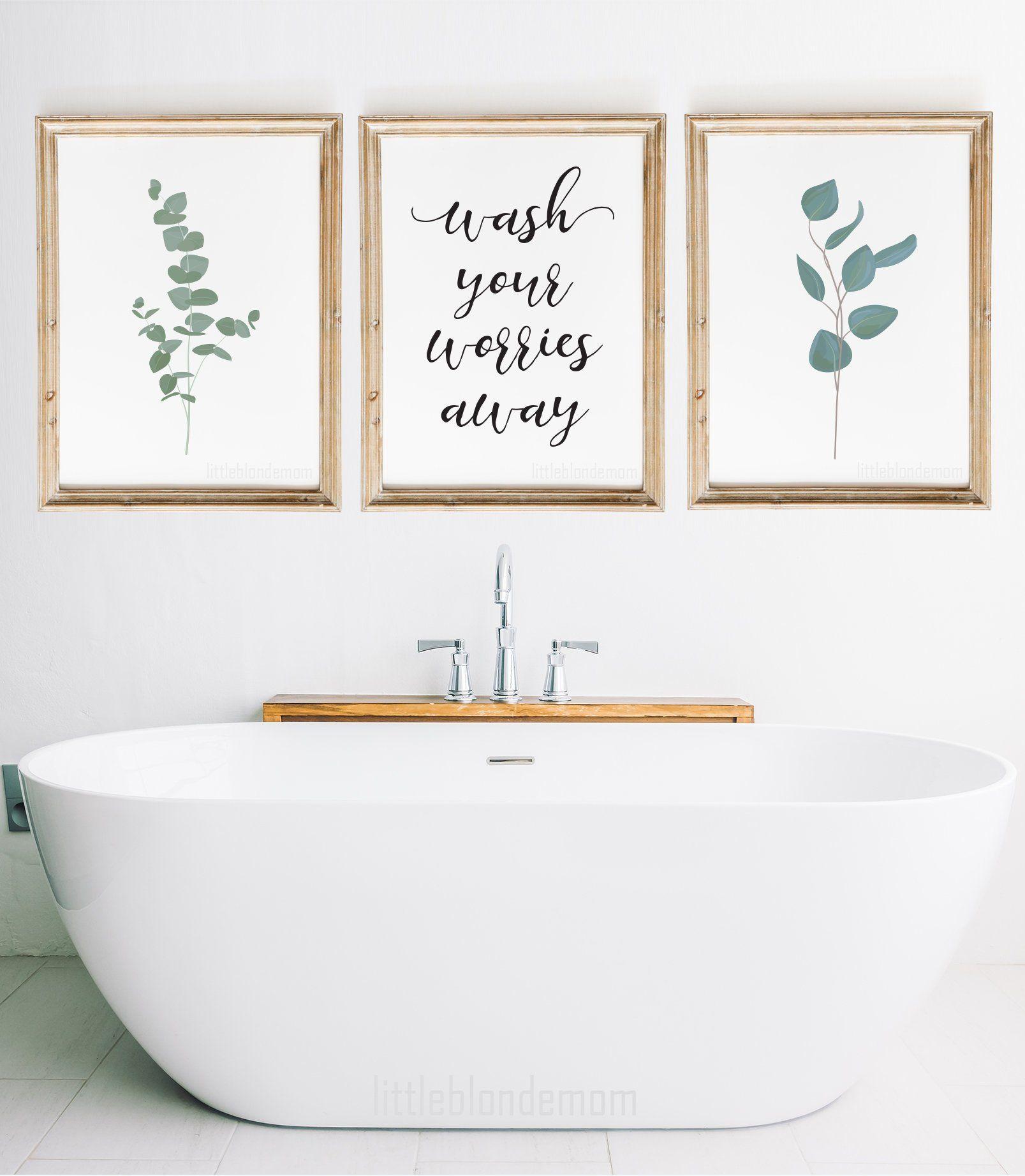 bathroom wall decor set of 3 wall art farmhouse wall on bathroom wall decor id=39335