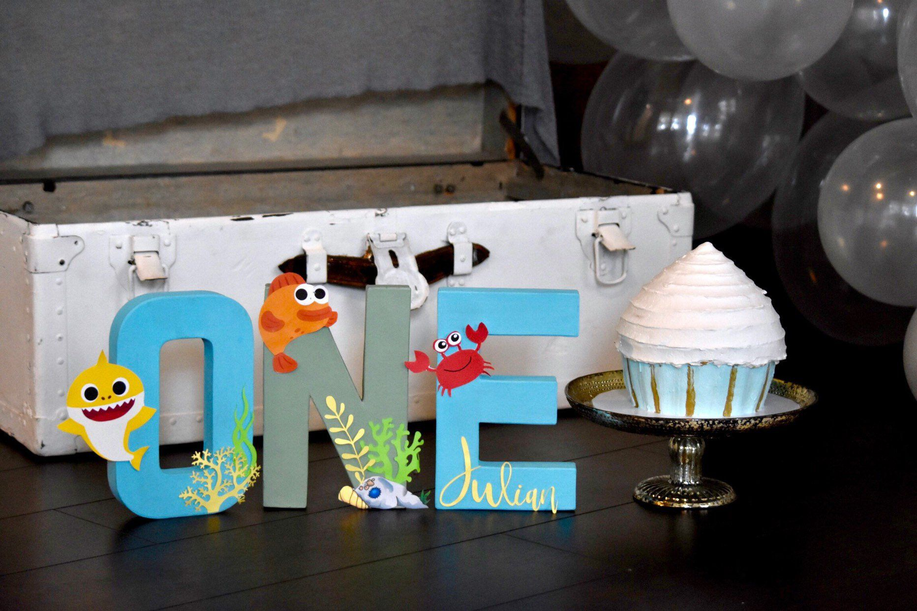 Baby Shark Letters First Birthday Baby Shark By