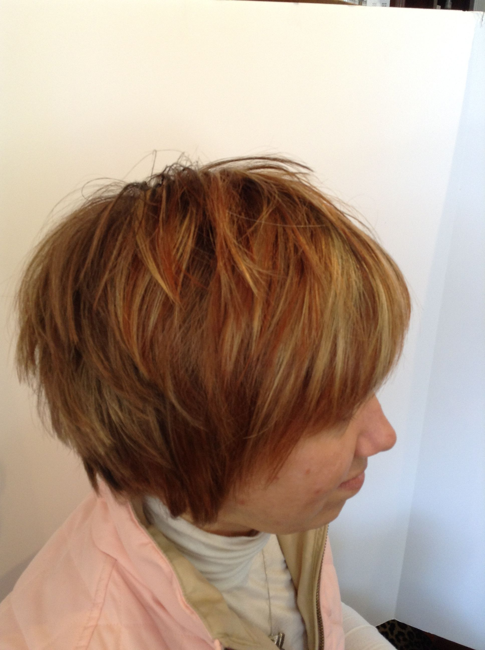 Asymmetrical Inverted Bob With Copper And Light Blonde High And Low