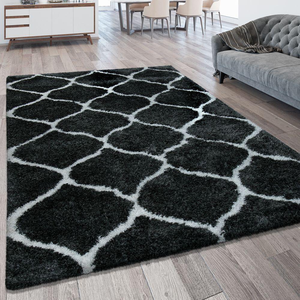 Hochflorteppich Marokkanisches Muster Anthrazit Teppiche Hochflor Teppiche Marokkanische Muster Hochflor Teppich Teppich