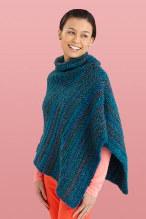 Cowl Neck Poncho Free Crochet Pattern From Lion Brand Skill Level