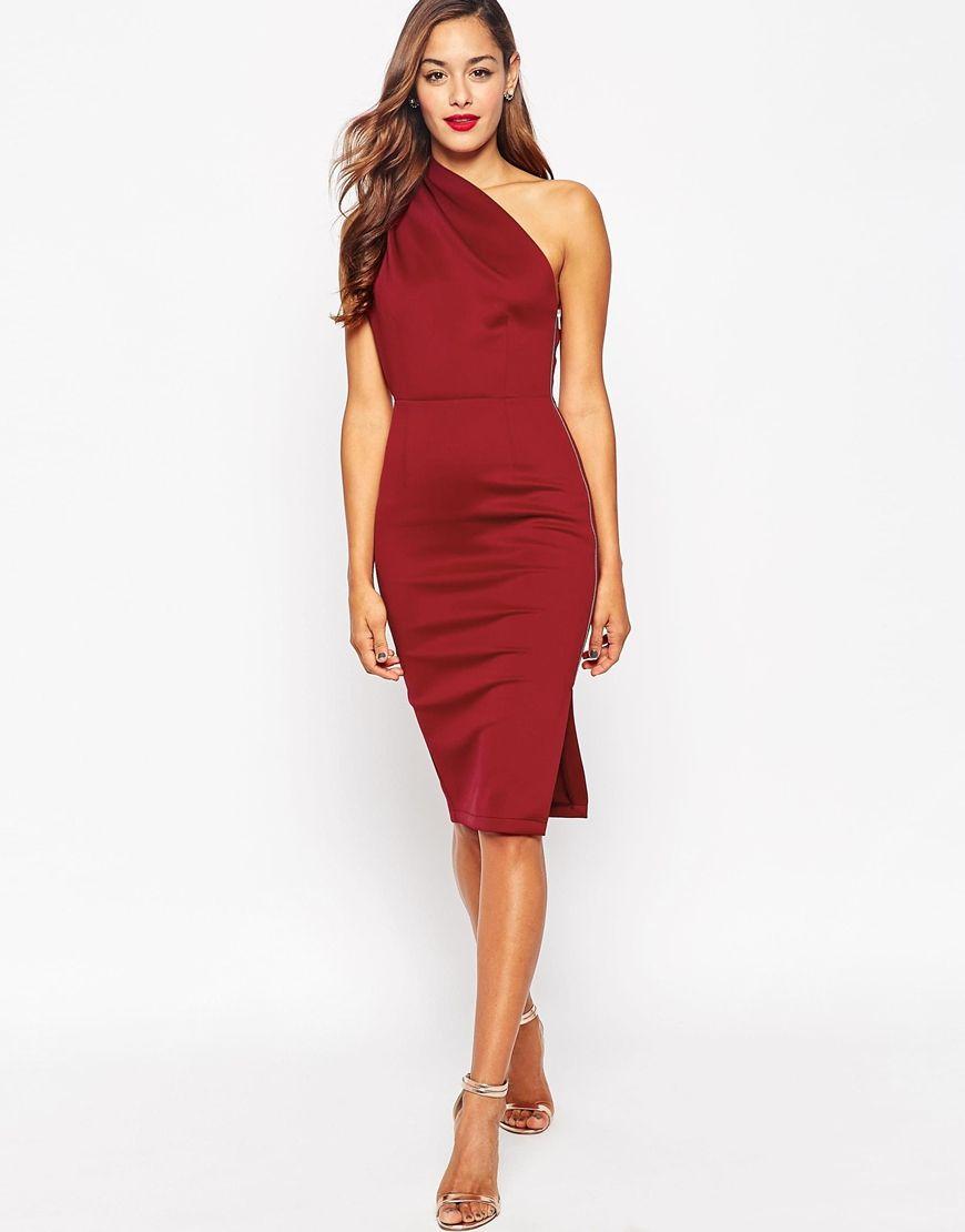 Asos One Shoulder With Exposed Zip Dress At Asos Com Hochzeitsgast Kleidung Kleider Mode Herbst Hochzeit Kleidung