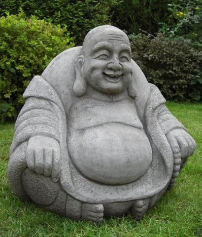 discount garden statues laughing stone cast fat buddha. Black Bedroom Furniture Sets. Home Design Ideas