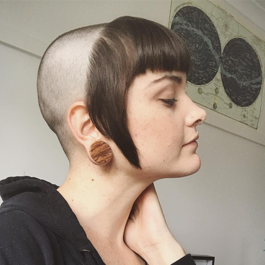 young girl with chelseacut / bangs only / half shaved head   hurr