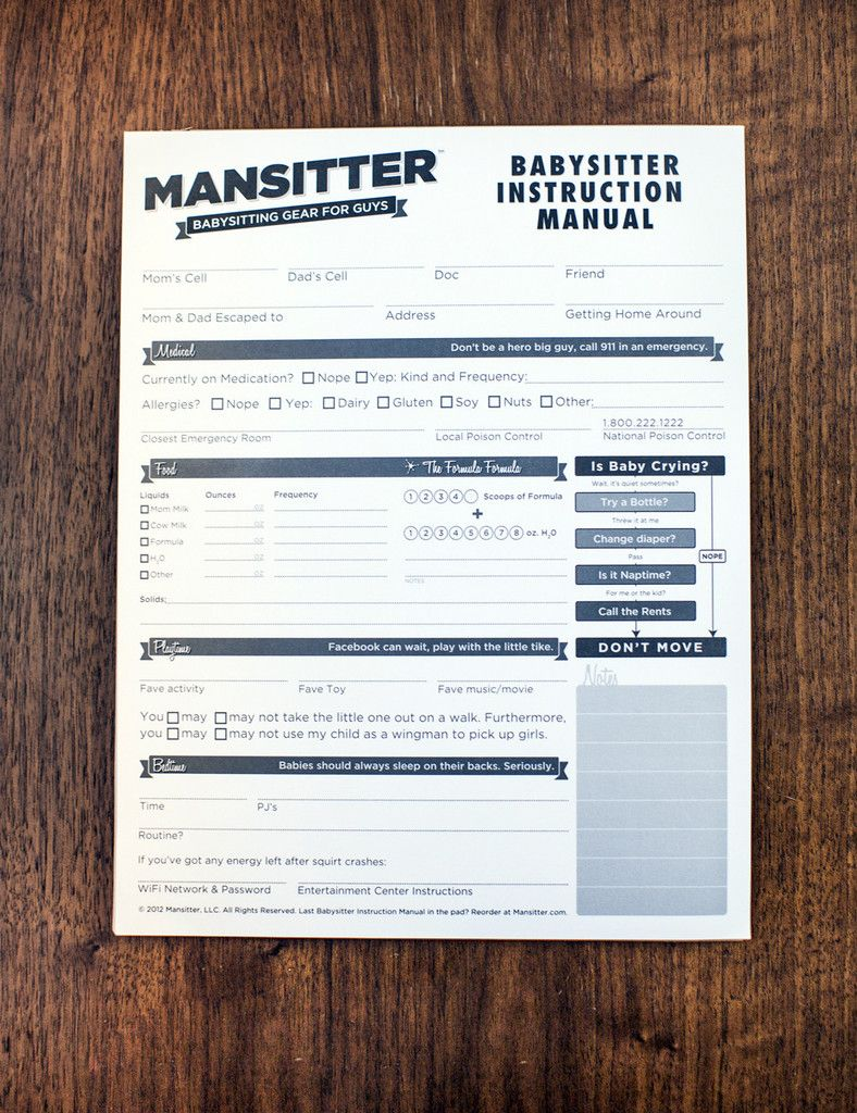 Babysitter Instruction Manual :: The Mansitter Babysitting Instruction  Manual brings babysitting checklists into the modern era.