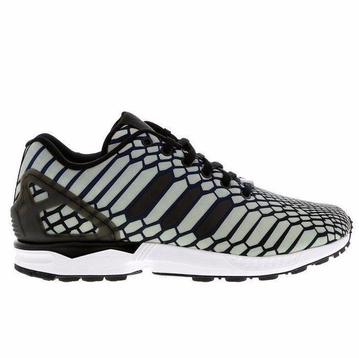 Adidas Originals ZX Flux Xeno 3M Reflective Navy White AQ4534 Sneakers Size  10.5