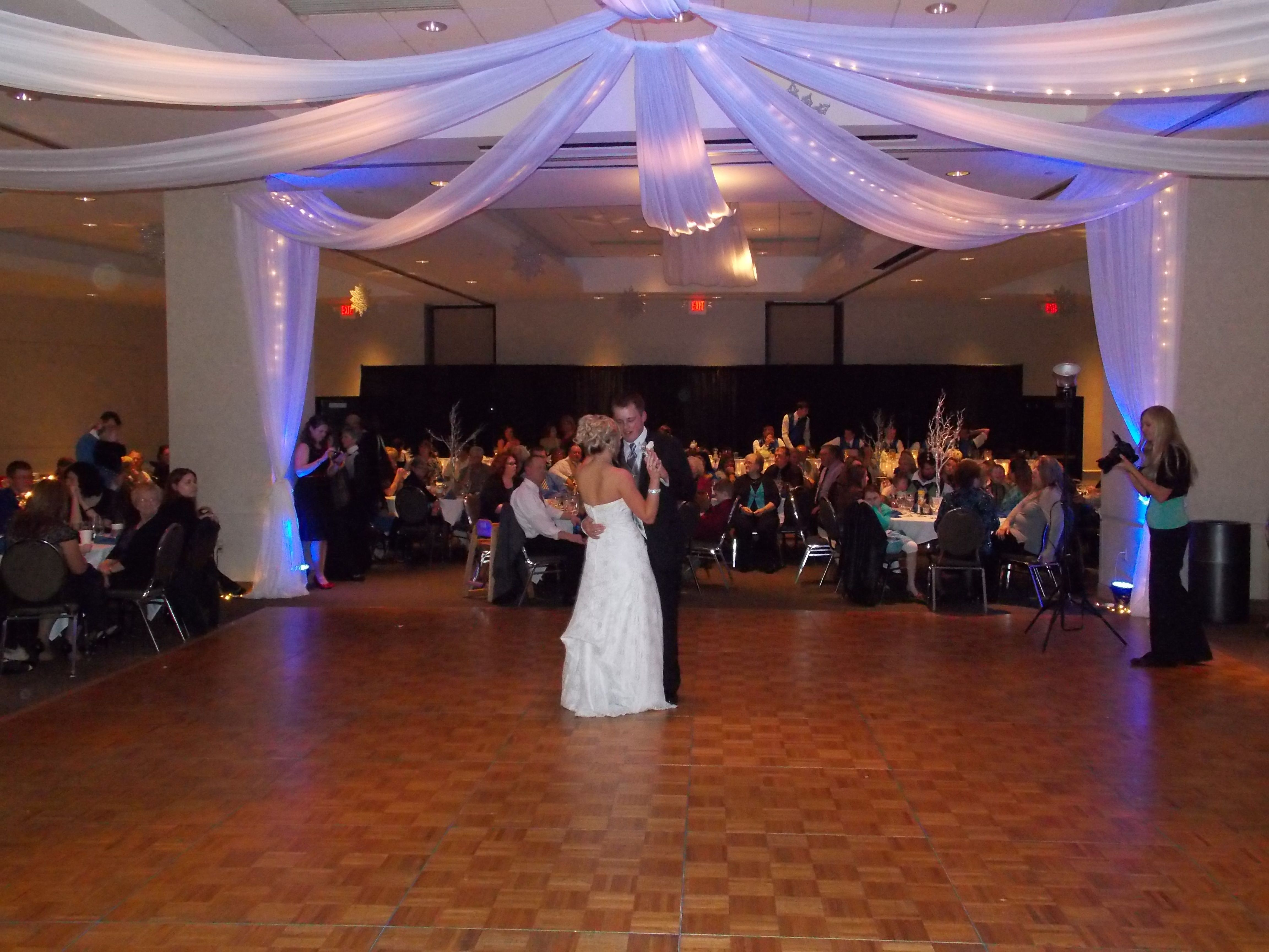 The Bride And Groom S First Dance At The I Wireless Center Moline Illinois Marske Music Productions Kirk Marske Dj E Company Party Banquet Hall Emcee