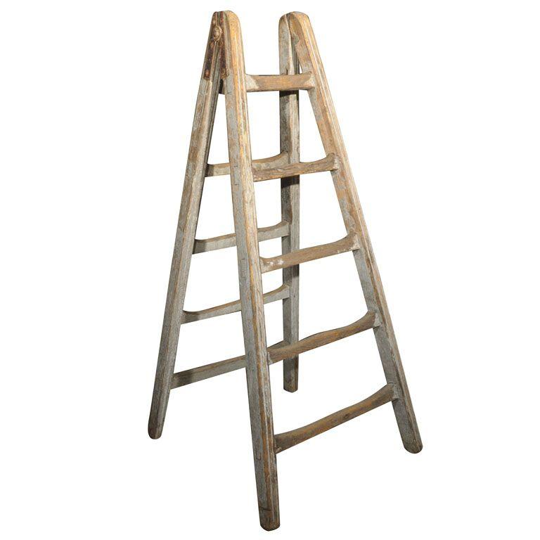 Folding Stepladder Antique Ladder Wood Diy Stair Storage