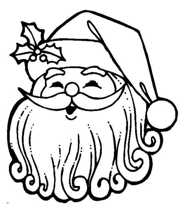 Happy Santa With Curly Beard Coloring Page Free Printable Mmr