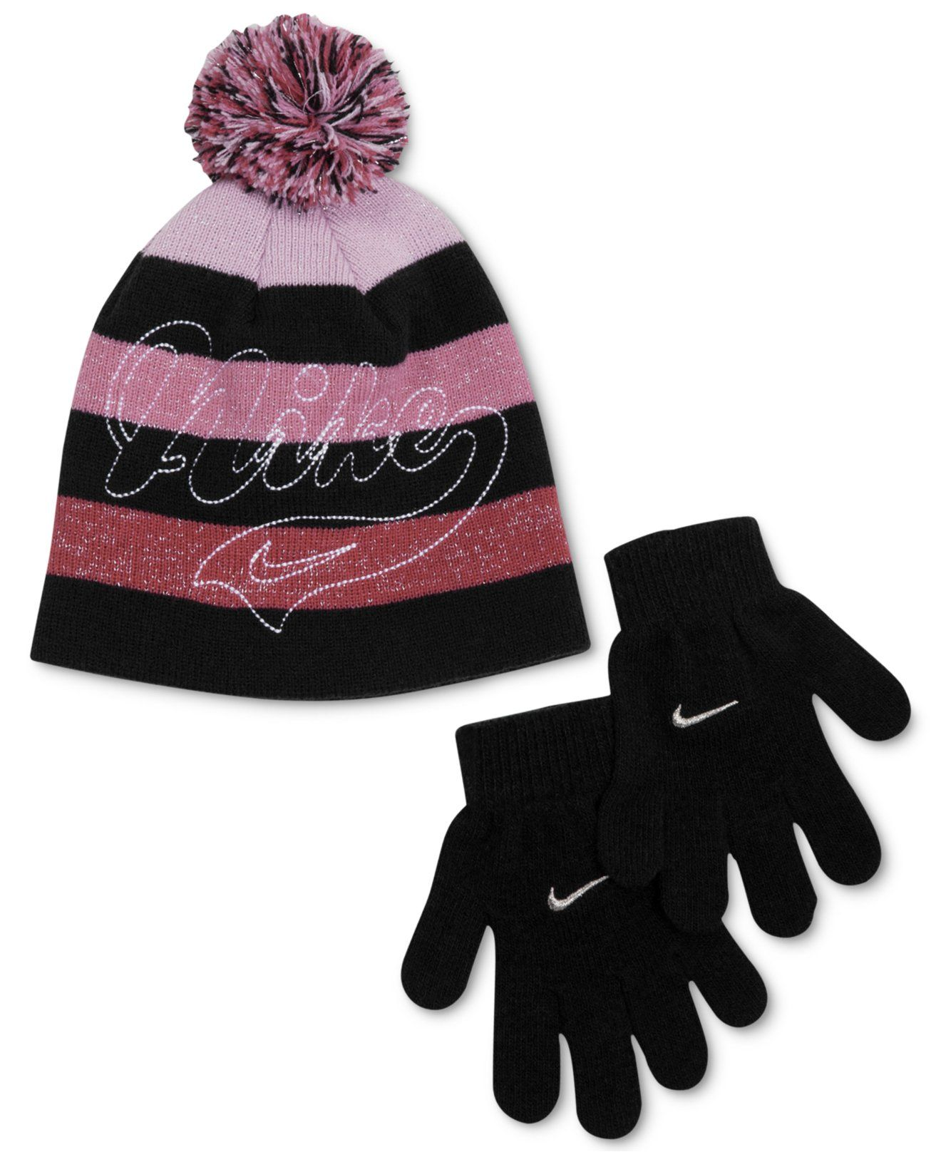 3d242775b1e Nike Girls  or Little Girls  Vintage Beanie   Gloves Set - Kids Girls 2-6X  - Macy s