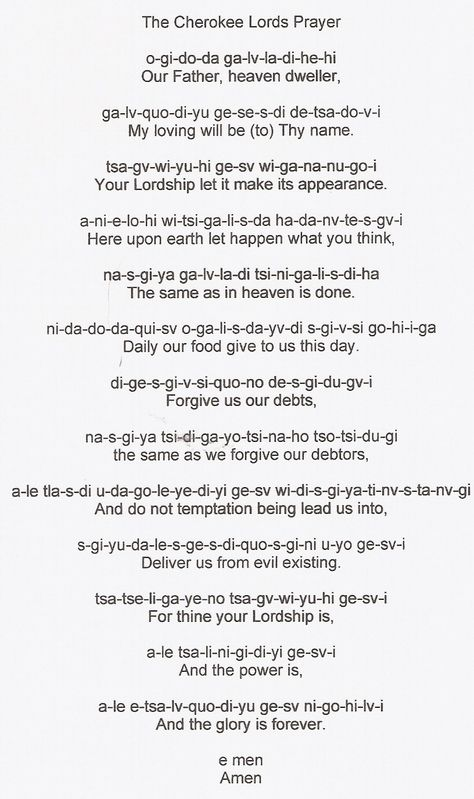 The Cherokee Lordu0027s Prayer Cherokee Indian stuff Pinterest - detailed resume