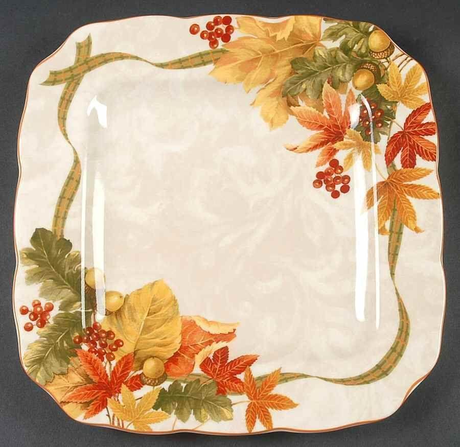 New 222 Fifth Autumn Celebration Dinner Plates Set 6 Fall Leaves ...