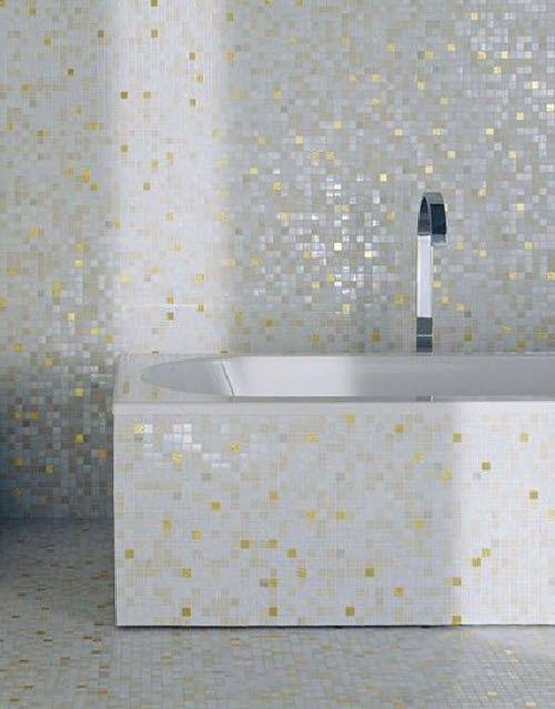 26 White Glitter Bathroom Floor Tiles Ideas And Pictures Mosaic Bathroom Tile Tile Bathroom Gold Tile
